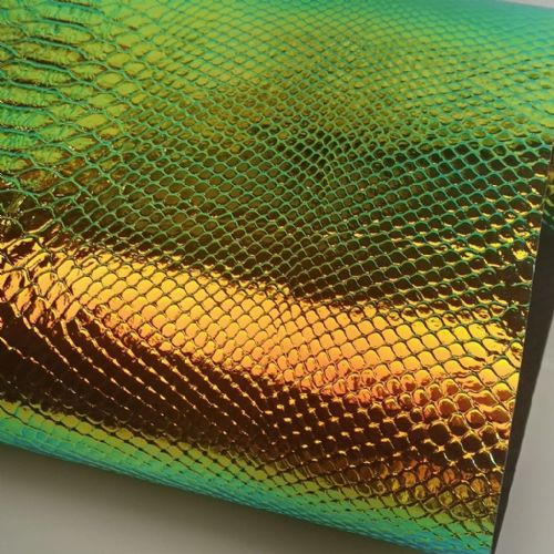 Iridescent Green Embossed Leatherette| 03